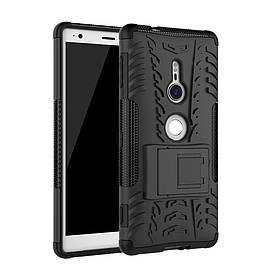 Чехол накладка для Sony Xperia XZ2 H8266 противоударный с подставкой, черный