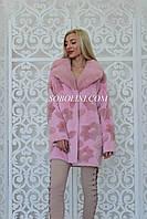 Шуба розовая из кроликаРексс норкой