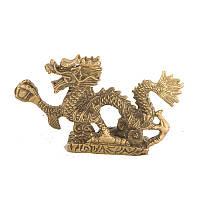Статуэтка Дракон с жемчужиной длина 10,5 см бронзовая (1111)
