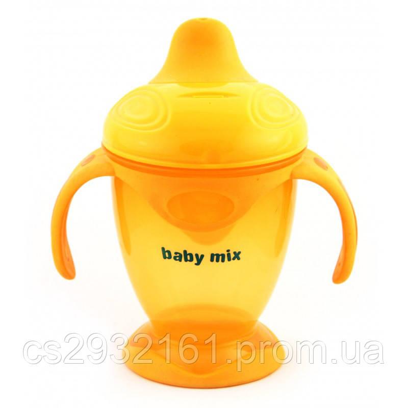BABY MIX Поильник - непроливайка с ручками 200 мл. оранжевый