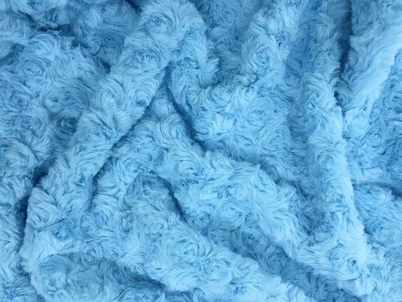 Плюш Minky цветок голубой 310г/м2