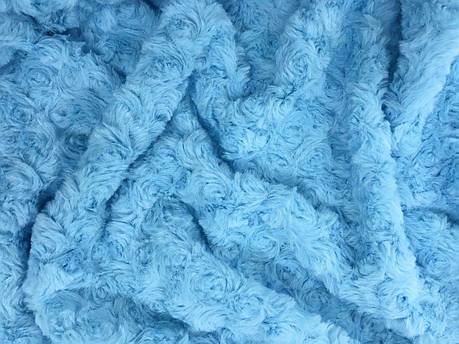 Плюш Minky цветок голубой 310г/м2, фото 2