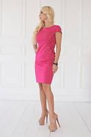 Платье женское летнее розового цвета по фигуре, платье нарядное со шнуровкой по бокам, фото 1