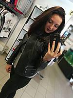 Кожаная куртка, укороченная, цвет - черный