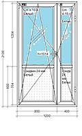 Дверь Двухстворчатая. Одно камерный стекло пакет. Профиль Rehau Design 70