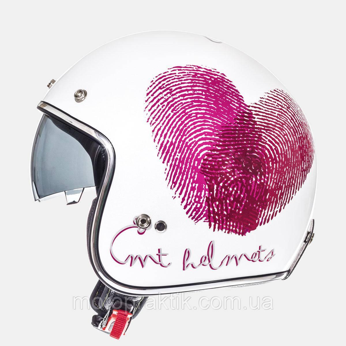 MT LE MANS SV Love Gloss Pearl White Fushia Red, XS, Мотошлем лицевик