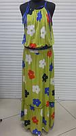 Сарафан женский длинный в пол желтого цвета, сарафан нарядный красивый большого размера, фото 1
