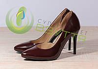Туфли-лодочки женские из натуральной лаковой кожи Наша версия 820 бор-л 35,37,38,39, 40 размеры, фото 1
