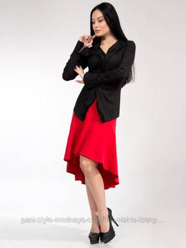 Спідниця жіноча червоного кольору зі шлейфом, спідниця молодіжна красива