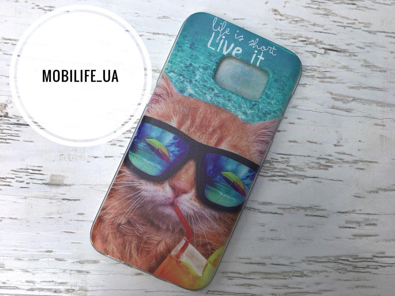 Чехол Samsung S7 Кошка/Силиконовый Чехол/