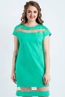 Платье женское по калено летнее бирюзового цвета большого размера, платье свободного кроя льняное, фото 1