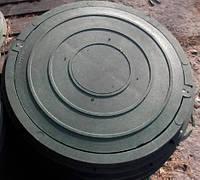 Люк легкий канализационный полимерпесчаный зеленый с замком