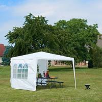 Палатка Шатер Садовый (Павильйон) 3x3м, Белый Полиэтилен + 2 Стенки (с окнами)