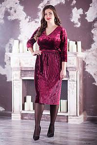 """Вечернее платье из велюра """"Алис"""" большого размера"""