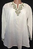 Блуза туника женская из хлопкового батиста с вышивкой, большой размер 52/54, фото 1