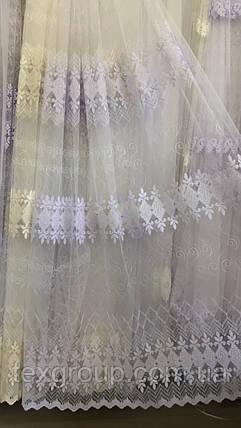 Тюль фатиновая с красивой вышивкой №853 оптом, фото 2
