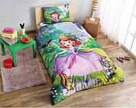 Детское подростковое постельное белье TAC Disney Sofia The First Ранфорс (простынь без резинки)