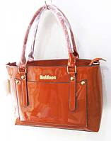 Лаковая женская сумка 33 х 23 см цвет рыжий
