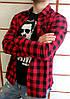 Мужская рубашка в клетку красная на длинный рукав ХИТ 2018!