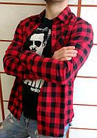 Мужская рубашка в клетку красная на длинный рукав ХИТ 2018!, фото 1