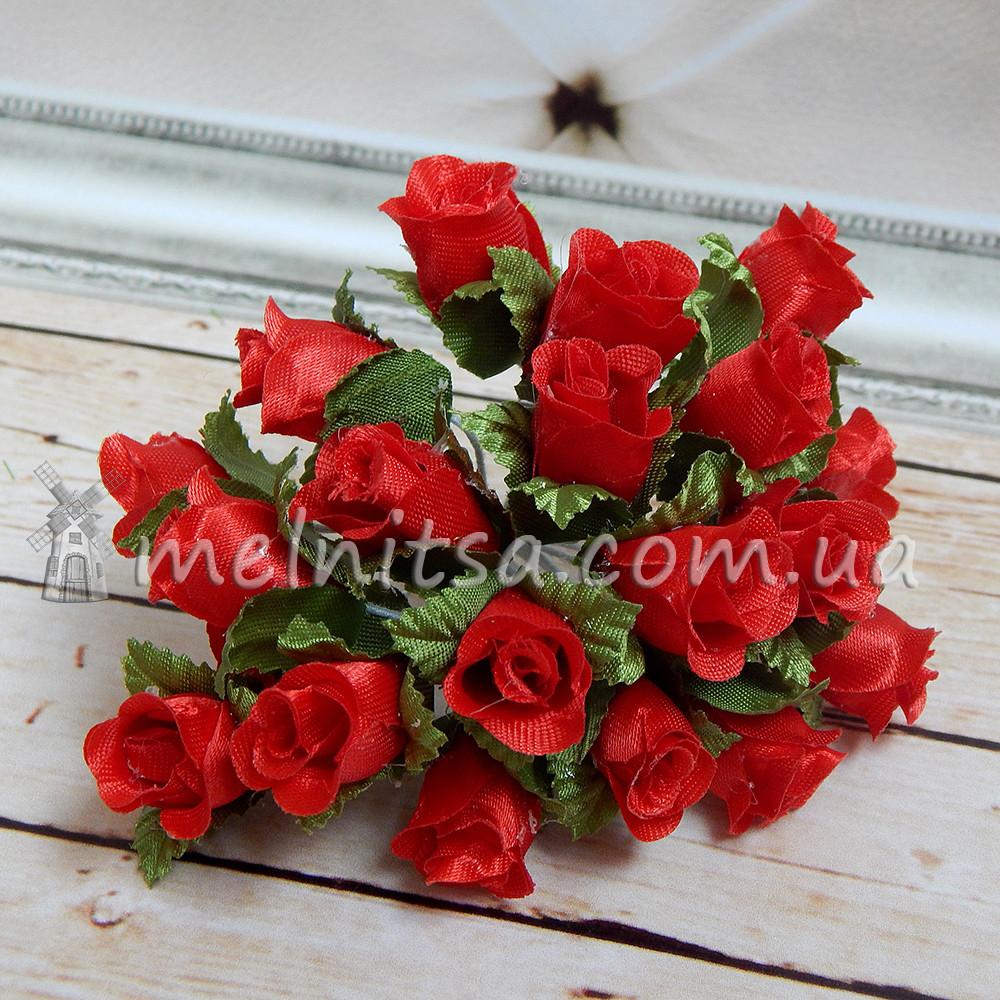 Букет розочек ткань, 2 см, красные (10 шт)