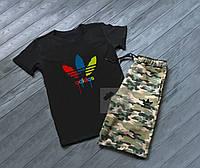 Летний мужской комплект футболка и шорты Adidas Адидас камуфляж черный (РЕПЛИКА)