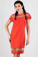 Платье женское по калено летнее кораллового цвета, платье свободного кроя льняное с вышевкой, фото 1
