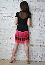 Танцевальная юбка из бахромы черно-розовая, фото 3