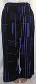 Брюки женские летние Next, черные с синим, тяжелый креп, большой размер 54/58