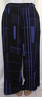 Брюки женские летние Next, черные с синим, тяжелый креп, большой размер 54/58, фото 1