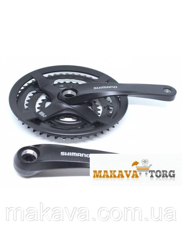 Шатун Shimano TY-501, 170мм. 48х38х28Т з захистом, чорний