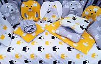 """Набор постельного белья для новорожденных """"Зайчата и их друзья"""", принт корона"""