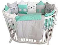 """Набор постельного белья """"Котята мишки и домики"""" в мятных тонах"""