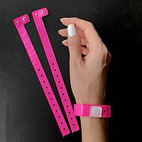 Контрольные виниловые браслеты на руку с логотипом для посетителей L - тип 16 мм Pink