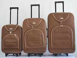 Набор чемоданов на колесах Bonro Lux Coffee-клетка 3 штуки