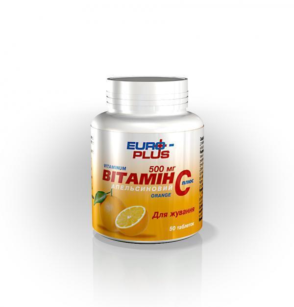 Вітамін С -для росту і відновлення клітин тканин, кровоносних судин (Євро Плюс)
