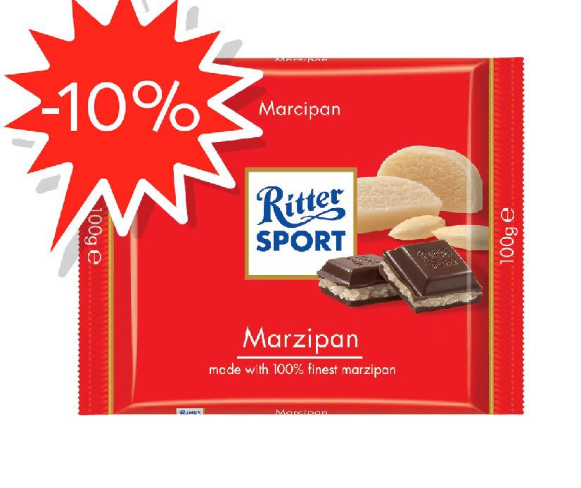 Шоколад Ritter SPORT 100г з начинкою марципан темний