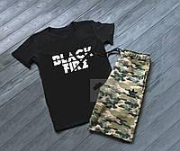 Летний мужской комплект футболка и шорты Adidas Black Fire Адидас камуфляж черный (РЕПЛИКА)