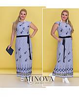 Романтичное платье-макси с вышивкой и съемным поясом (размеры 50-56)