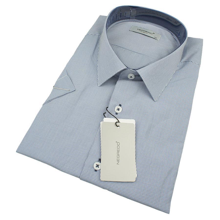 Чоловіча сорочка Negredo 0330 В Slim С розмір 3XL великого розміру в світло-синіх відтінках