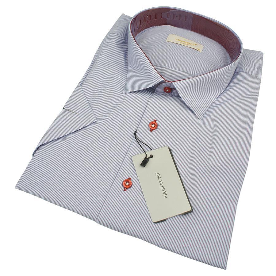 Мужская комбинированная рубашка Negredo 0330 В Slim С размер 4XL большого размера