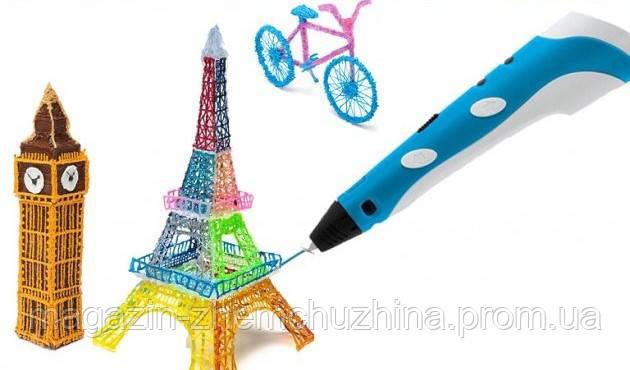 Ручка 3d PEN-2 (mix) Желтая, фиолетовая, голубая, розовая, фото 2