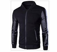 """Стильная куртка - бомбер """"Rock"""" рукава кожзам Черный, Размер S"""