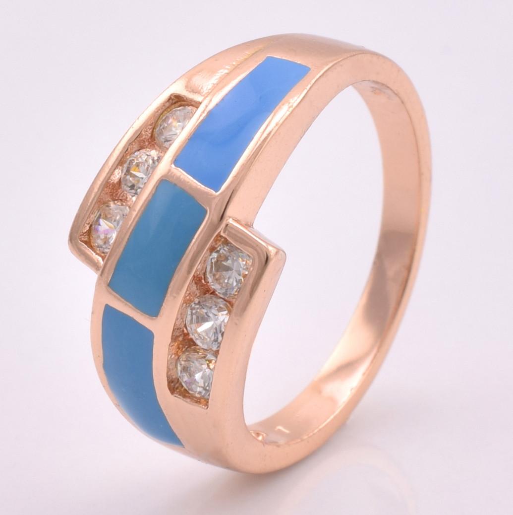 Кольцо 10353 размер 16, белые фианиты, синяя эмаль, позолота РО