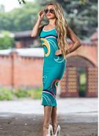 Платье футляр летнее по фигуре бирюзового цвета, платье майка облегающее, фото 1