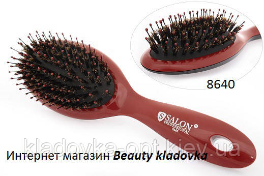 Расчёска массажная Salon Professional 8640  (натуральная+искуственная щетина), фото 2