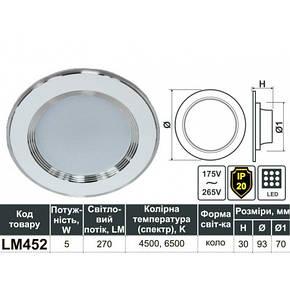 Врезной led точечный потолочный светильник 4500K круг Lemanso, фото 2