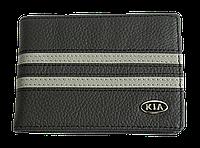 Кожаная обложка для прав Carrs с логотипом KIA черная (KIA05)