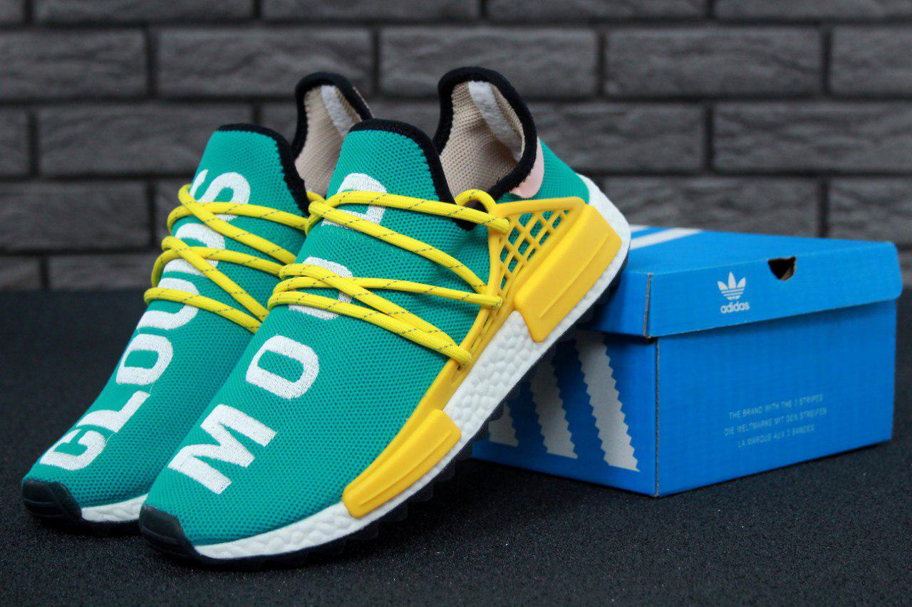 newest 3110f 7d5b3 Кроссовки мужские Adidas x Pharrell Williams Human Race NMD Green/Yellow  Реплика