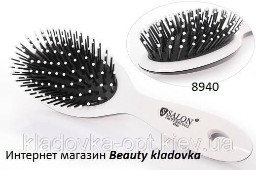 Расчёска массажная Salon Professional 8940  цвет черный, белый
